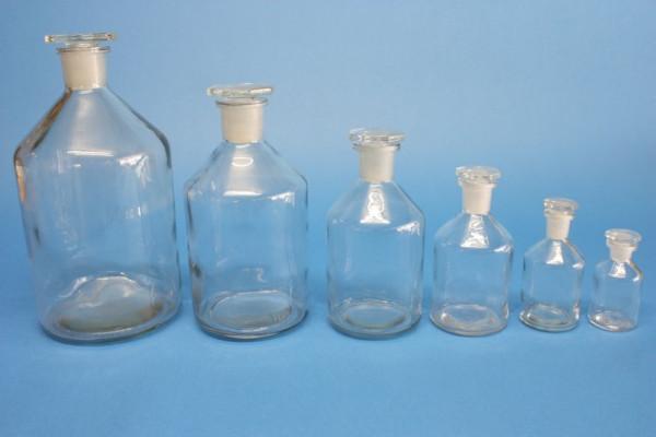 Steilbrustflasche, 250 ml, Enghals, klar, mit NS-Glasstopfen