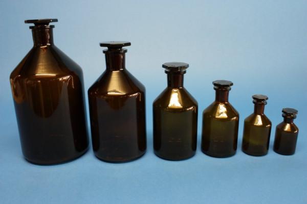 Steilbrustflasche, 250 ml, Enghals, braun, mit NS-Glasstopfen