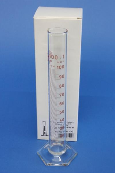Messzylinder mit Sechskantfuß aus Glas, 100 ml, hohe Form, Unterteilung: 1 ml