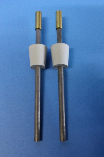 Blei-Elektrodenpaar zum Hoffmann-Apparat, Länge: 150 mm lang, mit Gummistopfen