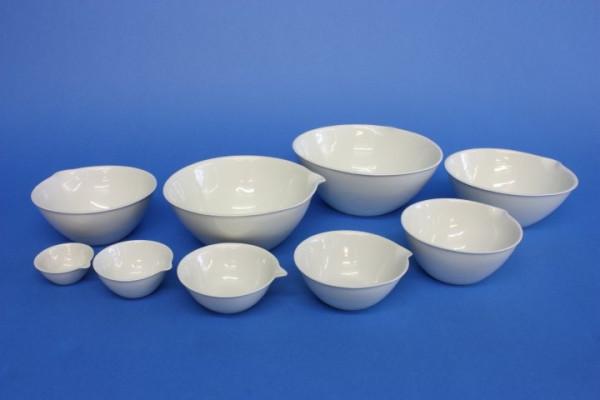 Abdampfschale aus Porzellan, 600 ml, 160 x 70 mm, halbtiefe Form, nach DIN 12903