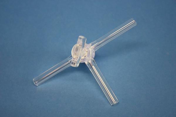 Dreiweghahn aus Borosilikatglas 3.3, Schenkellänge: 50 mm