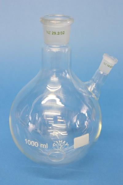 Zweihals-Rundkolben, 1000 ml, NS 29/32, schräger Seitenhals NS14/23, Boro.3.3