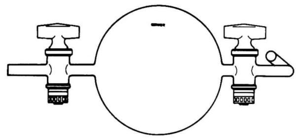 Gaswägekugel, mit 2 Hähnen, 1000 ml