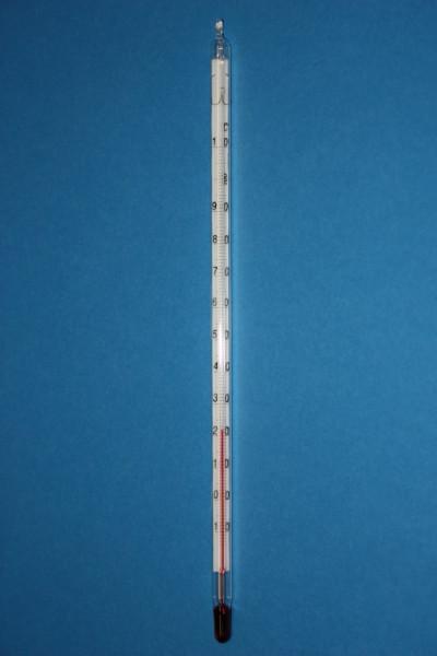 Chemische Laborthermometer, Einteilung: -10 ... +110:1 °C, mit roter Anzeigenfüllung