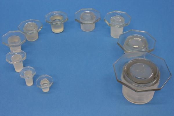Glasstopfen, NS 19/26, weiß, für Steilbrustflaschen