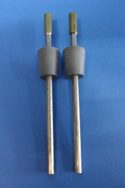Nickel-Elektrodenpaar zum Hoffmann-Apparat, Länge: 150 mm lang, mit Gummistopfen