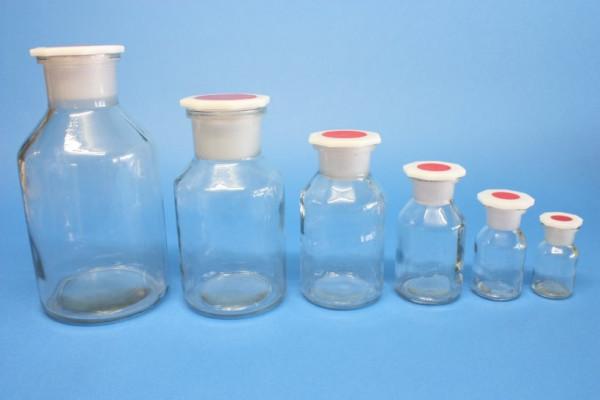 Steilbrustflasche, 50 ml, Weithals, klar, mit Norm-Polystopfen