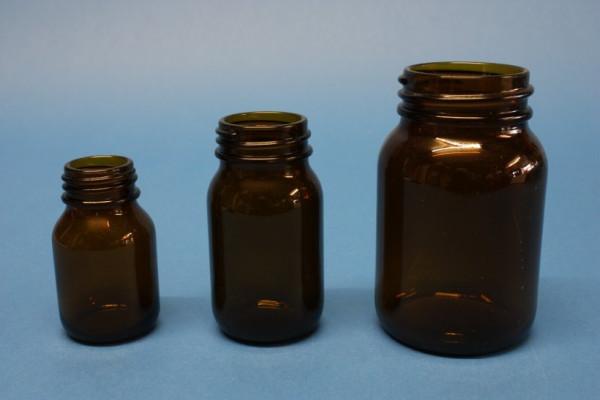 Weithals-Pulverglas, 100 ml, braun, Din 40 Gewinde