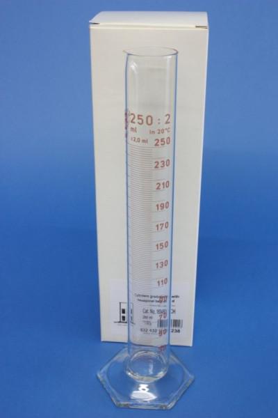 Messzylinder mit Sechskantfuß aus Glas, 250 ml, hohe Form, Unterteilung: 2 ml