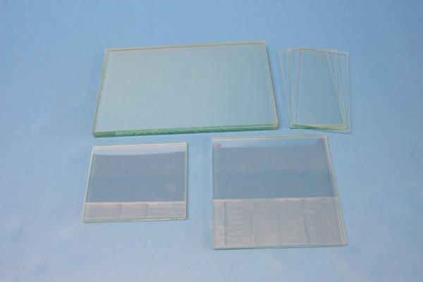 Glasplatten, klarglas, planparallel, 70 x 50 x 19 mm, Kanten poliert