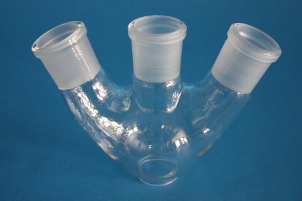 Dreihals-Rundkolben, 100 ml, 1x NS 29/32, schräge Seitenhälse NS29/32, Boro.3.3
