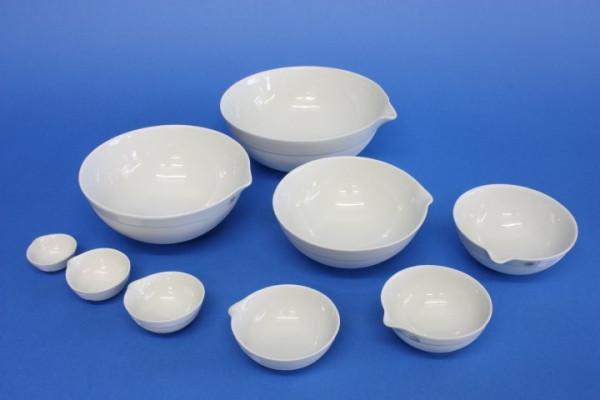 Abdampfschale aus Porzellan, 10 ml, 42 x 19 mm, halbtiefe Form, nach DIN 12903