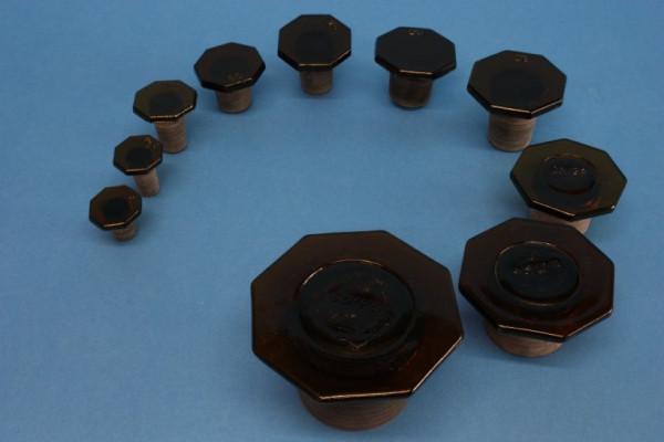 Glasstopfen, NS 34/24, braun, für Steilbrustflaschen