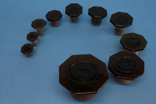 Glasstopfen, NS 45/27, braun, für Steilbrustflaschen