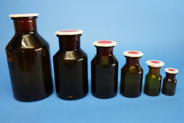 Steilbrustflasche, 100 ml, Weithals, braun, mit Norm-Polystopfen