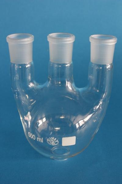 Dreihals-Rundkolben, 250 ml, 1x NS 29/32, gerade Seitenhälse NS 29/32, Boro.3.3