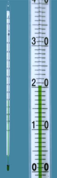 Chemische Laborthermometer, Einteilung: -10 ... +360:1 °C, mit grüner Anzeigenfüllung