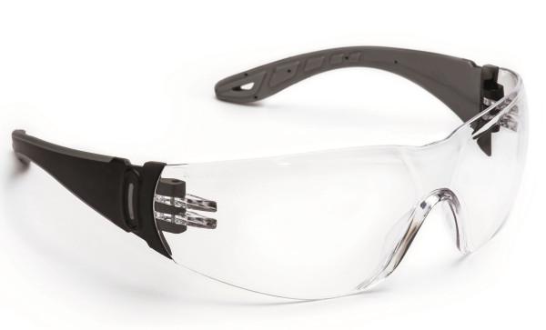 Sportliche Panoramaschutzbrille schwarz/grau mit großen antibeschlag Scheiben und kratzfest