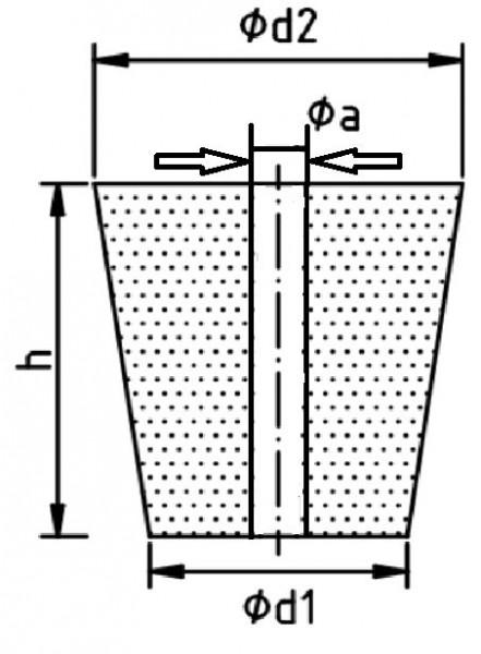 Gummistopfen, 41 x 34 mm, konisch, mit 1 Bohrung 8 mm