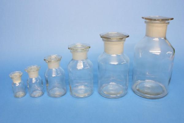 Steilbrustflasche, 100 ml, Weithals, klar, mit NS-Glasstopfen