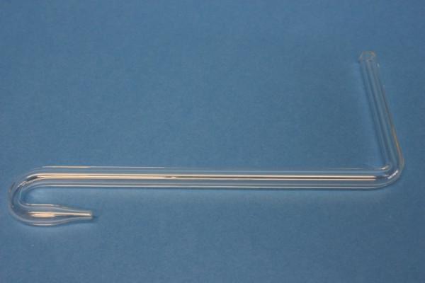 Glasrohrformteil 8 mm, rechter Winkel, mit Bogen und 30-mm-Spitze, 80/150 mm