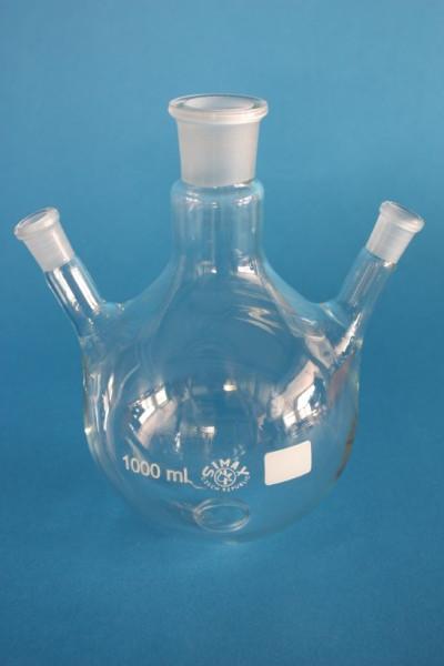 Dreihals-Rundkolben, 1000 ml, 1x NS 29/32, schräge Seitenhälse NS 14/23, Boro.3.3