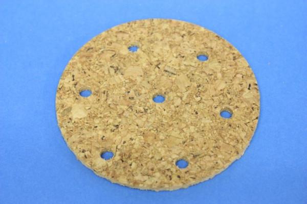 Korkscheibe, 90 mm Ad. mit 7 Bohrungen
