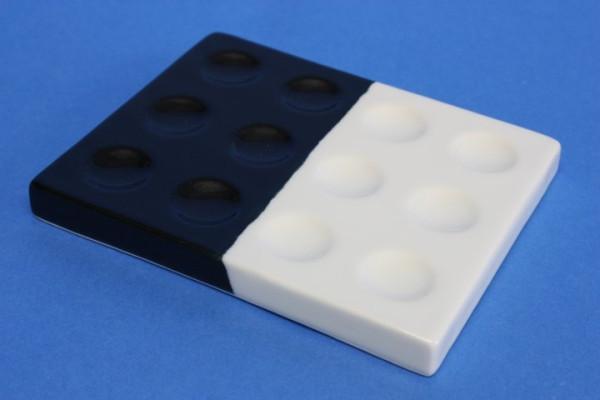 Tüpfelplatte aus Porzellan, schwarz/weiß, Vertiefungen: 12x, 6x schwarz, 6x weiß
