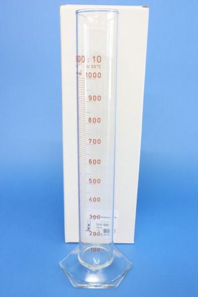 Messzylinder mit Sechskantfuß aus Glas, 1000 ml, hohe Form, Unterteilung: 10 ml