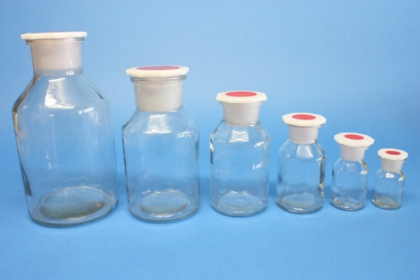 Steilbrustflasche, 250 ml, Weithals, klar, mit Norm-Polystopfen