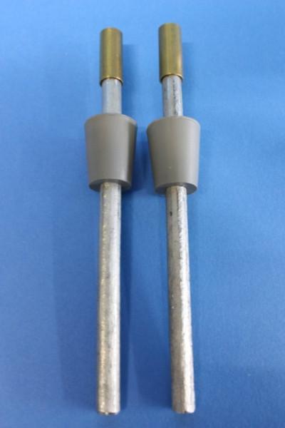 Zink-Elektrodenpaar zum Hoffmann-Apparat, Länge: 150 mm lang, mit Gummistopfen