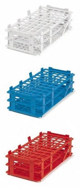 Reagenzglasgestell aus PP, rot, 4 x 8 Reihen, bis 25 mm Ø