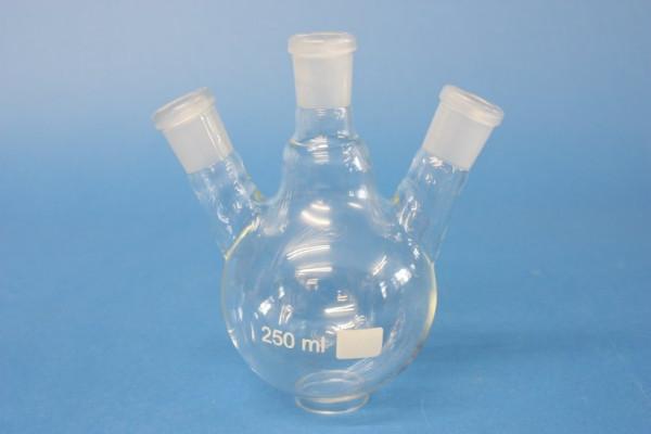Dreihals-Rundkolben, 250 ml, mit zwei schrägen Seitenhälsen, NS 19/26