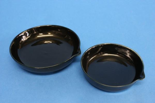 Abdampfschale aus Porzellan, schwarz, flache Form, 100 ml, 100 x 20 mm