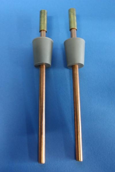 Kupfer-Elektrodenpaar zum Hoffmann-Apparat, Länge: 150 mm lang, mit Gummistopfen