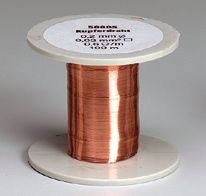 Kupfer-Drahtspule (Drähte, blank), 0,2 mm Durchmesser, 100 m lang