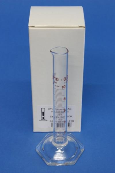Messzylinder mit Sechskantfuß aus Glas, 10 ml, hohe Form, Unterteilung: 0,2 ml