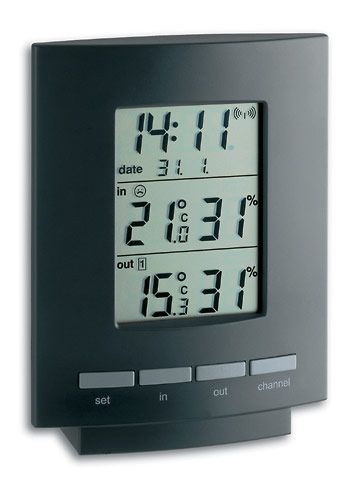 Funk-Thermo-Hygrometer, Messbereich Temp.: -10...+60°C, rel. Luftf.: 10...99 %