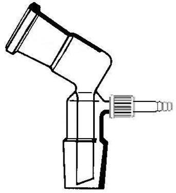 Vakuum-Vorstoß, gebogen, 105°, mit GL-14-Kunststoffolive, NS 29/32, Boro.3.3
