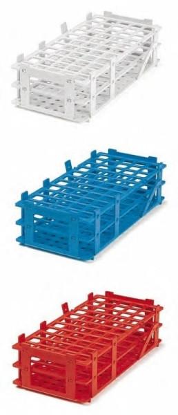 Reagenzglasgestell aus PP, blau, 4 x 8 Reihen, bis 25 mm Ø