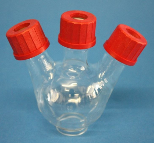 Dreihals-Rundkolben, GL, 100 ml, Mittelhals GL 25, Seitenhälse schräg 1 x GL 25