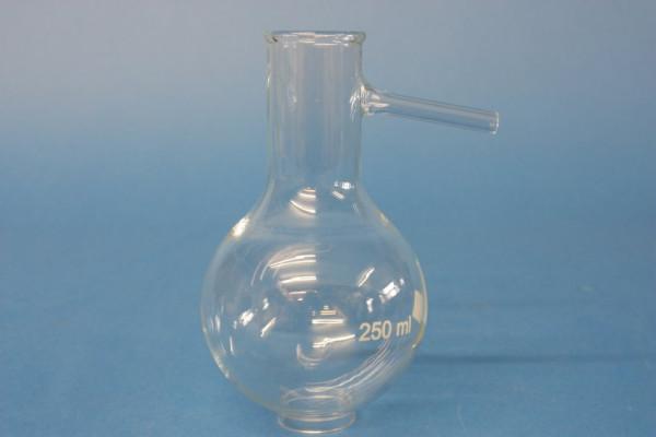 Destillierkolben, 500 ml, kurzer Hals, Auflaufrohr 80 mm lang