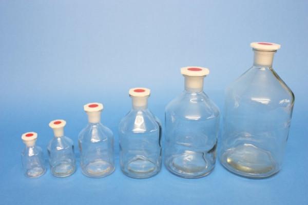 Steilbrustflasche, 250 ml, Enghals, klar, mit Norm-Polystopfen