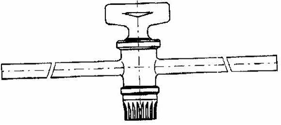 Einweghahn mit Normschliff-Hahn 12,5, Schenkellänge: 50 mm, Form: gerade