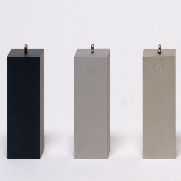 Dichtebestimmungskörper Gleiches Volumen, 3 Stück