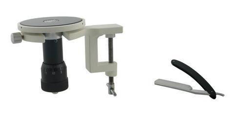 Handzylindermikrotom mit Tischklemme inkl. Mikrotommesser flach/hohl