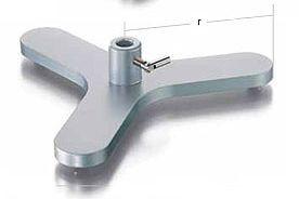 Stativdreifuß mit Muffe, Schenkellange 115 mm