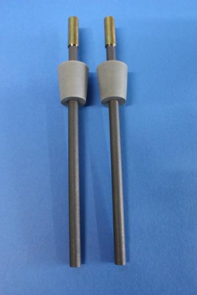 Kohle-Elektrodenpaar zum Hoffmann-Apparat, Länge: 150 mm lang, mit Gummistopfen