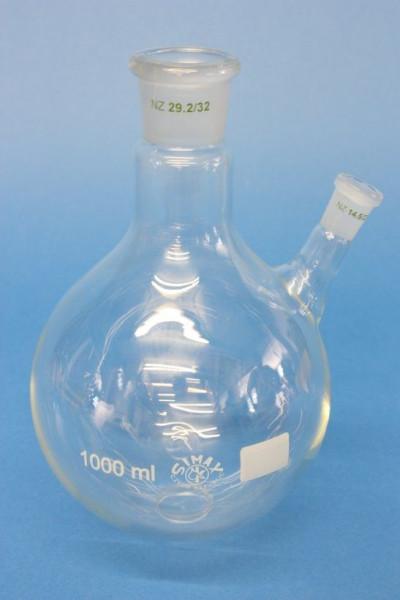 Zweihals-Rundkolben, 2000 ml, NS 29/32, schräger Seitenhals NS14/23, Boro.3.3